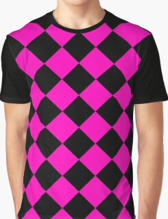 Black and Pink Diagonal Harlequin Diamond Checks Graphic T-Shirt