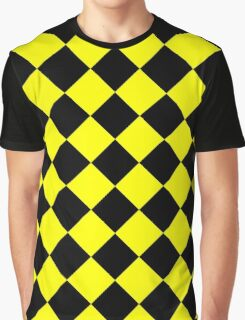 Black and Yellow Diagonal Harlequin Diamond Checks Graphic T-Shirt