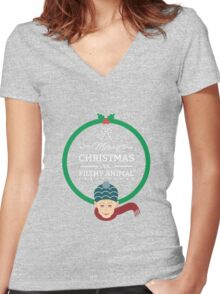 Home Alone Merry Christmas ya filthy Animal Women's Fitted V-Neck T-Shirt