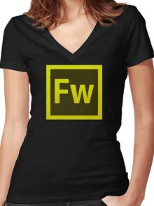 Fire Works CS6 Logo Women's Fitted V-Neck T-Shirt