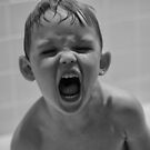 My boy screaming at me. Angry, mad. Raw energy B&W by Jason Franklin
