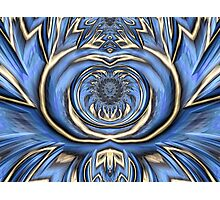 Mandala in Blue and Gold Photographic Print