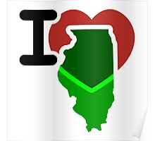 I Heart Love Illinois IL Poster