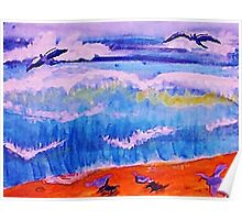 Sea gulls and the waves, watercolor Poster