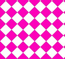 White and Pink Diagonal Harlequin Diamond Checks by ukedward