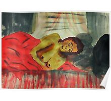 Sleeping comfortably, watercolor Poster