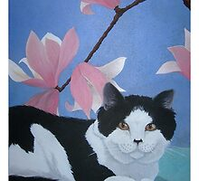 Black and White Cat by Junga