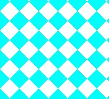 White and Turquoise Diagonal Harlequin Diamond Checks by ukedward