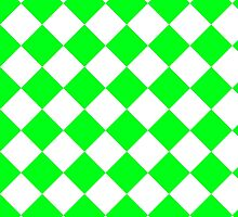 White and Lime Green Diagonal Harlequin Diamond Checks by ukedward