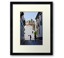 historical street with tourists Framed Print