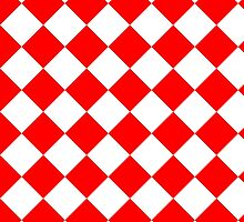 White and Red Diagonal Harlequin Diamond Checks by ukedward