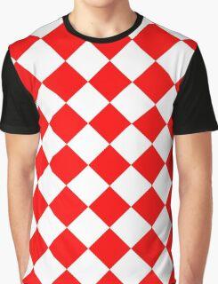 White and Red Diagonal Harlequin Diamond Checks Graphic T-Shirt