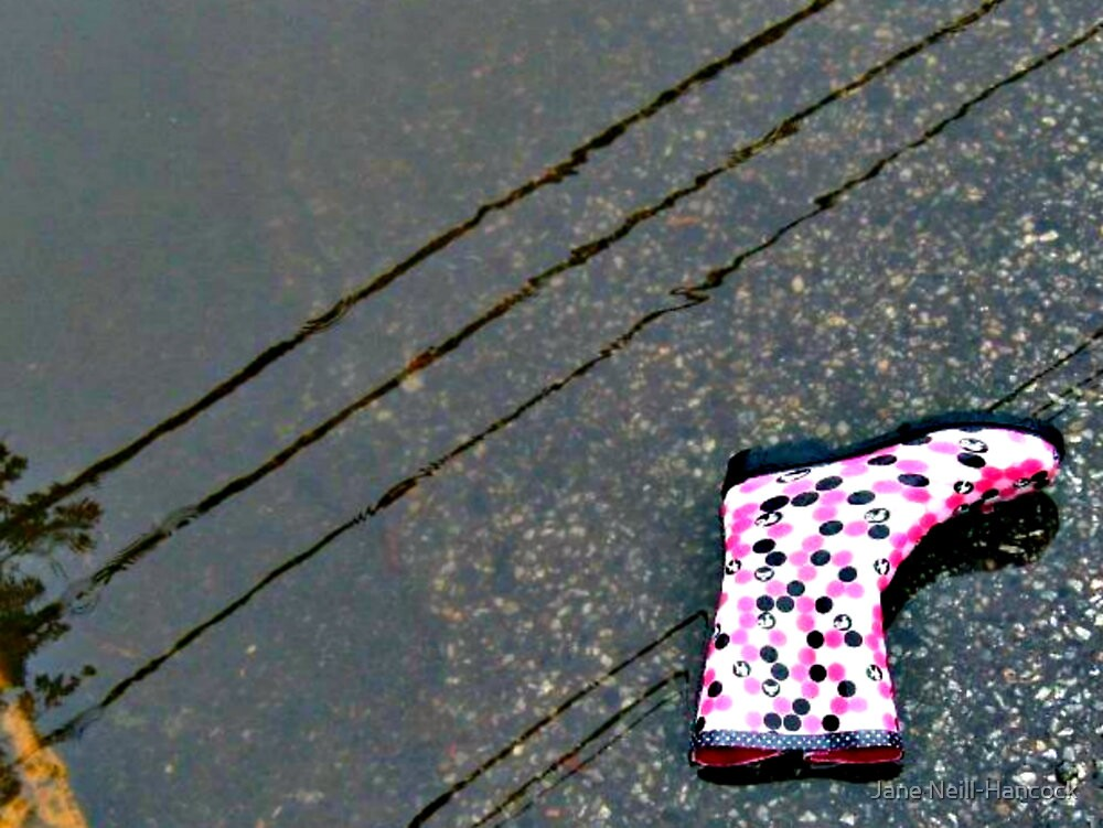 Lonely Pink Boot In A Puddle by Jane Neill-Hancock