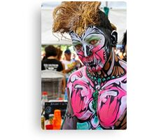 Punked  Portrait In Pink Canvas Print