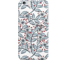 red flowers & blue leaves on white iPhone Case/Skin