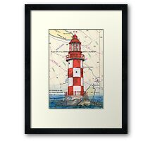 Cape North Race Lighthouse NS Canada Map Cathy Peek Framed Print