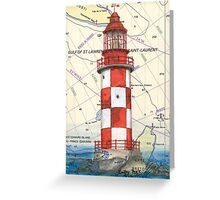 Cape North Race Lighthouse NS Canada Map Cathy Peek Greeting Card