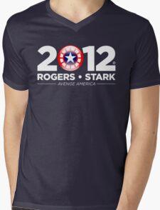 Vote Rogers & Stark 2012 (White Text) Mens V-Neck T-Shirt