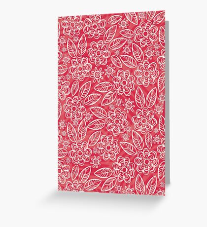 white floral pattern on red Greeting Card