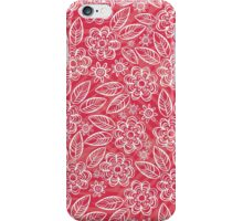white floral pattern on red iPhone Case/Skin