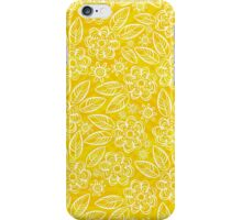 white floral pattern on yellow iPhone Case/Skin
