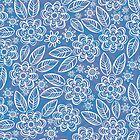 white floral pattern on blue by demonique