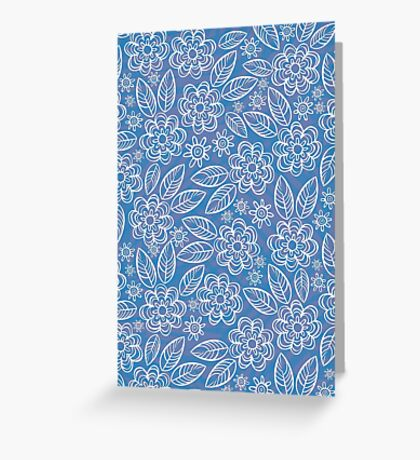 white floral pattern on blue Greeting Card