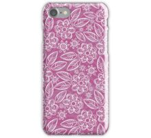 white floral pattern on purple iPhone Case/Skin