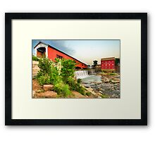Bridgeton Mill and Covered Bridge Framed Print
