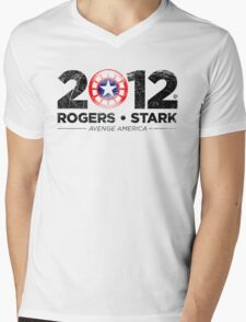Vote Rogers & Stark 2012 (Black Vintage) Mens V-Neck T-Shirt