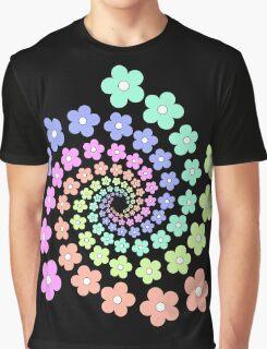 Groovy Flower Spiral - Retro 60s - Vintage 1960s - Rainbow Graphic T-Shirt