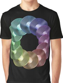 Ring of Vinyl LP Records - Metallic - Rainbow Graphic T-Shirt