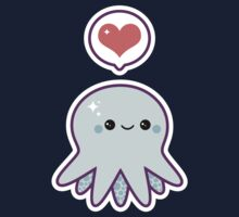 Cute Blue Octopus Kids Tee