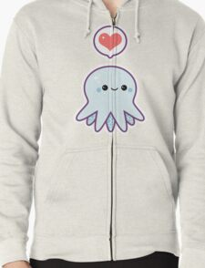 Cute Blue Octopus Zipped Hoodie