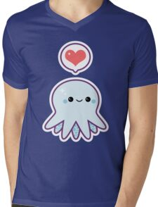 Cute Blue Octopus Mens V-Neck T-Shirt