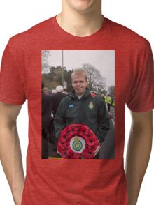 Andrew Larby at a Remembrance service in Biggin Hill Kent Tri-blend T-Shirt