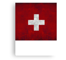 flag of Switzerland red square white cross t shirt Canvas Print