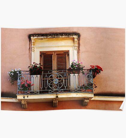 Balcony In Taormina Sicily Poster