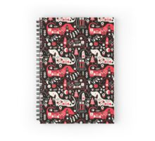 Dog Folk In Black/ Red Spiral Notebook