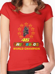Valentino Rossi 46: World Champion in MotoGP (B) Women's Fitted Scoop T-Shirt
