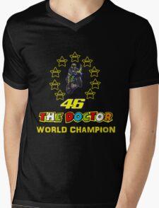 Valentino Rossi 46: World Champion in MotoGP (B) Mens V-Neck T-Shirt