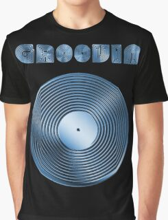 Groovin - Vinyl LP Record & Text - Metallic - Blue Graphic T-Shirt