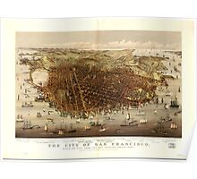 Panoramic Maps The city of San Francisco Birds eye view from the bay looking south-west Poster