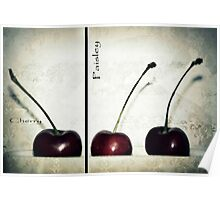 Cherries in Paisley Poster