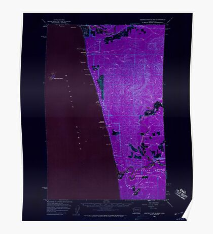 USGS Topo Map Washington State WA Destruction Island 240844 1956 62500 Inverted Poster