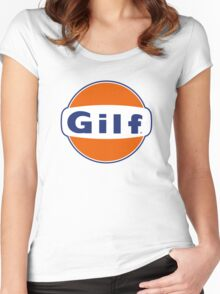 """""""GILF"""" - Gulf Gas Parody - Grandmother I Would Like to F&@K Women's Fitted Scoop T-Shirt"""