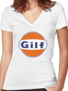 """""""GILF"""" - Gulf Gas Parody - Grandmother I Would Like to F&@K Women's Fitted V-Neck T-Shirt"""