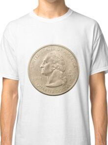 US one Quarter Dollar coin (25 cents) isolated on white background  Classic T-Shirt