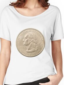 US one Quarter Dollar coin (25 cents) isolated on white background  Women's Relaxed Fit T-Shirt
