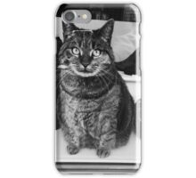 cat black and white tex iPhone Case/Skin